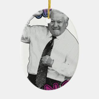 Boris Jelzin Tanz-Tanz-heißer Sommer 1996 Ovales Keramik Ornament