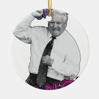 Boris Jelzin Tanz-Tanz-heißer Sommer 1996 Rundes Keramik Ornament