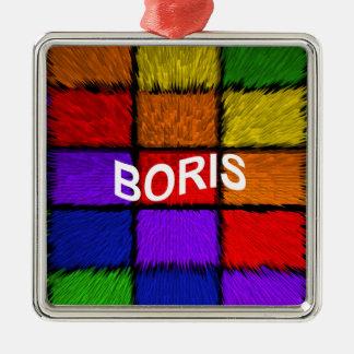 BORIS (männliche Namen) Quadratisches Silberfarbenes Ornament