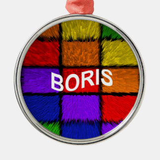 BORIS (männliche Namen) Rundes Silberfarbenes Ornament