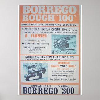 Borrego raues 100 Rennen-Plakat Poster