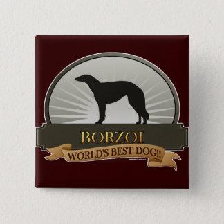 Borzoi Quadratischer Button 5,1 Cm