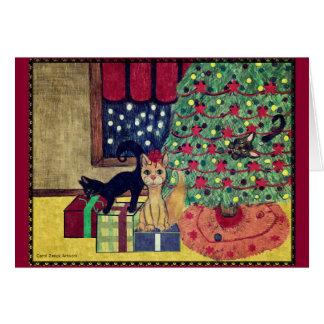 Boshafte Kätzchen-Weihnachtskarte durch Carol Karte