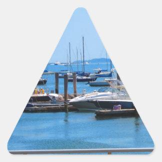 Boston-Hafen-Boots-Segel-SailBoats Seeansichten Dreieckiger Aufkleber