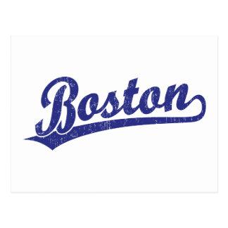 Boston-Skriptlogo im Blau Postkarten