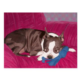 Boston Terrier, das auf roter Couch - Postkarte