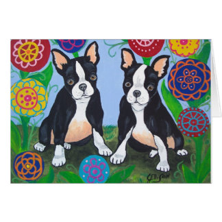 "Boston-Terrier ""Freunde"" Notecard Karte"