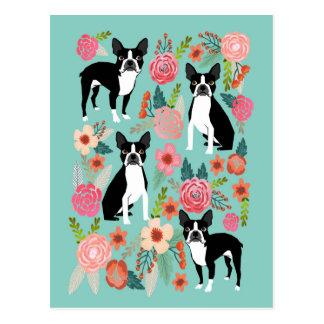 Boston-Terrier-Frühlings-Blumen - niedlicher Postkarte
