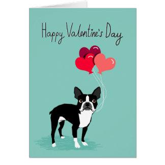 Boston-Terrier-Valentinstag-Karte - niedliche Karte