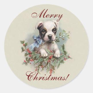Boston-Terrier-Welpe - niedlicher Runder Aufkleber