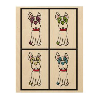 Boston-Terrier-Zeichnen Holzleinwand