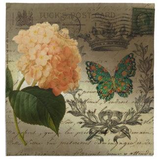 botanische Kunst Hydrangea-Schmetterlingskrone Stoffserviette