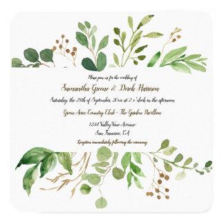 Botanische quadratische Hochzeits-Traumeinladungen Karte