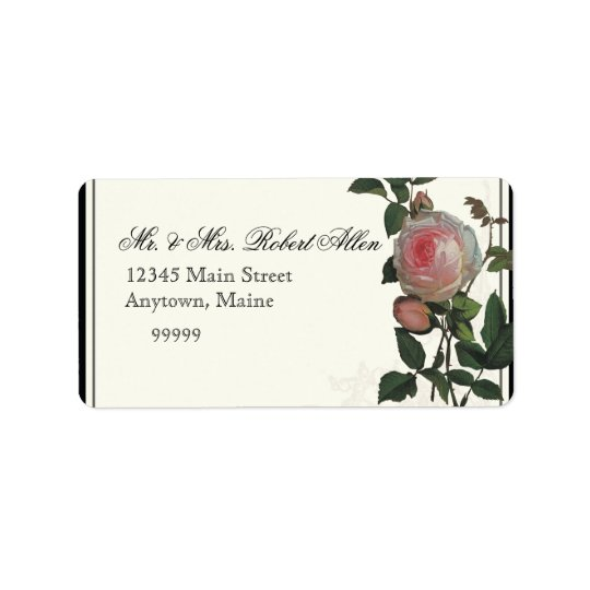 Botanische rosa Rose, Schwarzes - Adressetiketten
