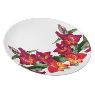 Botanische rote Gladiola Blumen-Blumenplatte Essteller