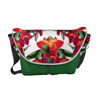 Botanische rote Gladiola Blumen-Blumentasche Kurier Taschen