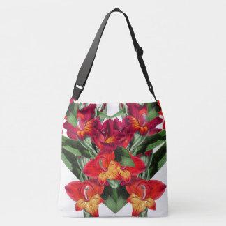 Botanische rote Gladiola Blumen-Blumentasche Tragetaschen Mit Langen Trägern
