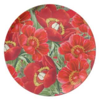 Botanische rote Pfingstrosen-Blumen-Blumenplatte Teller