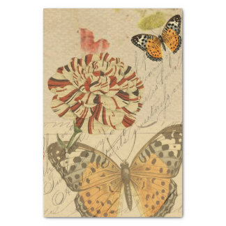 Botanische Schmetterlings-Collage Seidenpapier