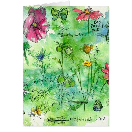 Botanische Sketchbookwatercolor-Blumen danken Karte