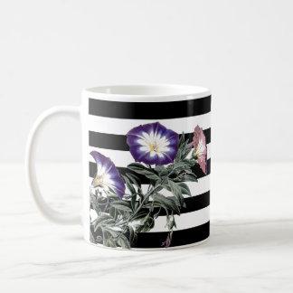 Botanische Winden-Blumen-Blumenstreifen-Tasse Kaffeetasse