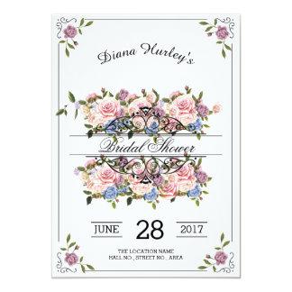 Botanische Wreath-Brautparty-mit Blumenkarte 12,7 X 17,8 Cm Einladungskarte