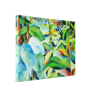 Botanischer Blätter-Leinwand-Druck 24 x 18 Galerie Gefaltete Leinwand