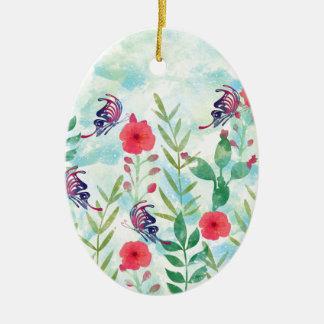 botanischer Garten VI des Aquarells Ovales Keramik Ornament