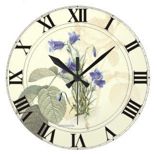 Botanisches blaues Campanula clockface Große Wanduhr