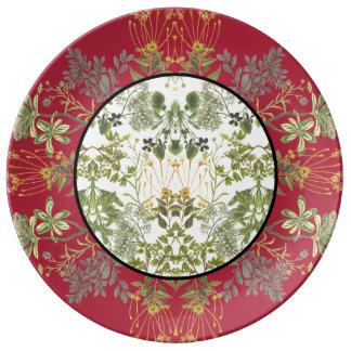 Botanisches Patchwork Porzellanteller