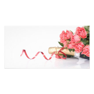 bottle of champagne and pink photocarte customisée