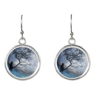 Boucles D'oreilles Chat et lune