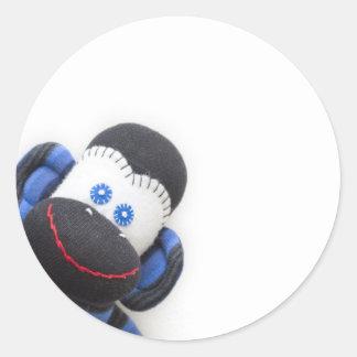 Bouillonne le singe de chaussette autocollants ronds
