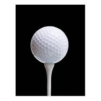 Boule et pièce en t de golf sur Noir customisé Carte Postale