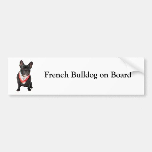 Bouledogue français à bord d'adhésif pour pare-cho autocollant pour voiture