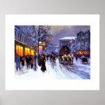 Boulevard de la Madeleine, hiver. Affiche de beaux