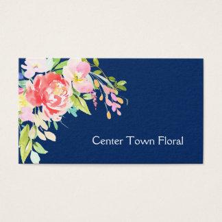 Bouquet d'aquarelle sur le fleuriste de bleu cartes de visite