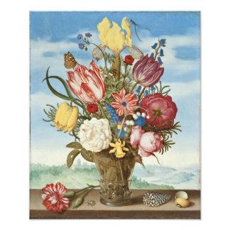 Bouquet des fleurs sur un rebord impression photographique