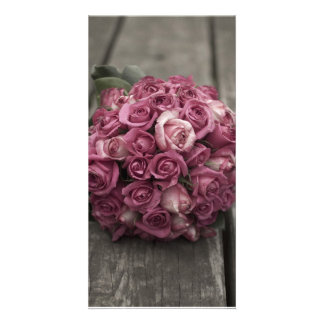 Bouquet rose carte avec photo