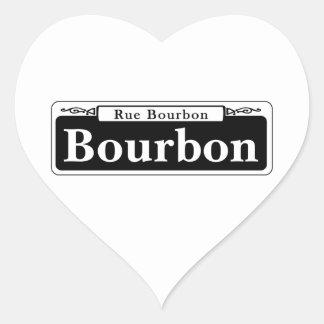 Bourbon-St., New- OrleansStraßenschild Herz-Aufkleber