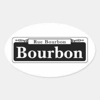 Bourbon-St., New- OrleansStraßenschild Ovaler Aufkleber