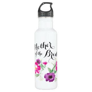 Bouteille D'eau La mère de l'aquarelle de jeune mariée fleurit