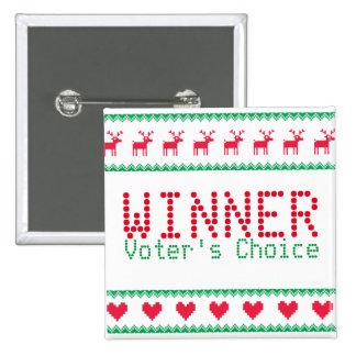 Bouton de gagnant pour la partie de mauvais goût badge carré 5 cm