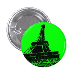 Bouton de Tour Eiffel en vert Badge Rond 2,50 Cm