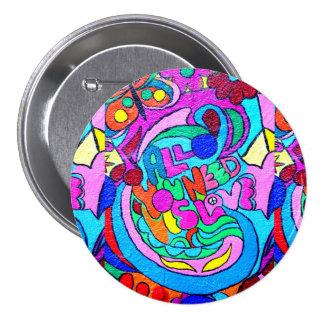bouton hippie super d'amour de style badges avec agrafe