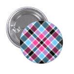 Bouton rose et bleu de BubbleQuartz™ de tartan Pin's