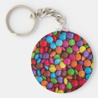 Boutons colorés de chocolat porte-clé rond