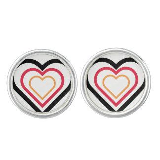 boutons de manchette Allemand-inspirés de coeur de