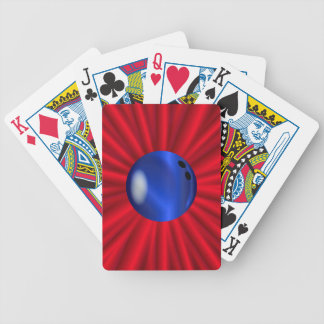 Bowlings-Ball über Rot Bicycle Spielkarten