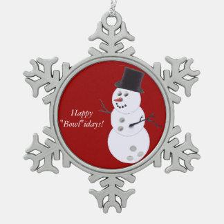 Bowlings-BallSnowman Schneeflocken Zinn-Ornament